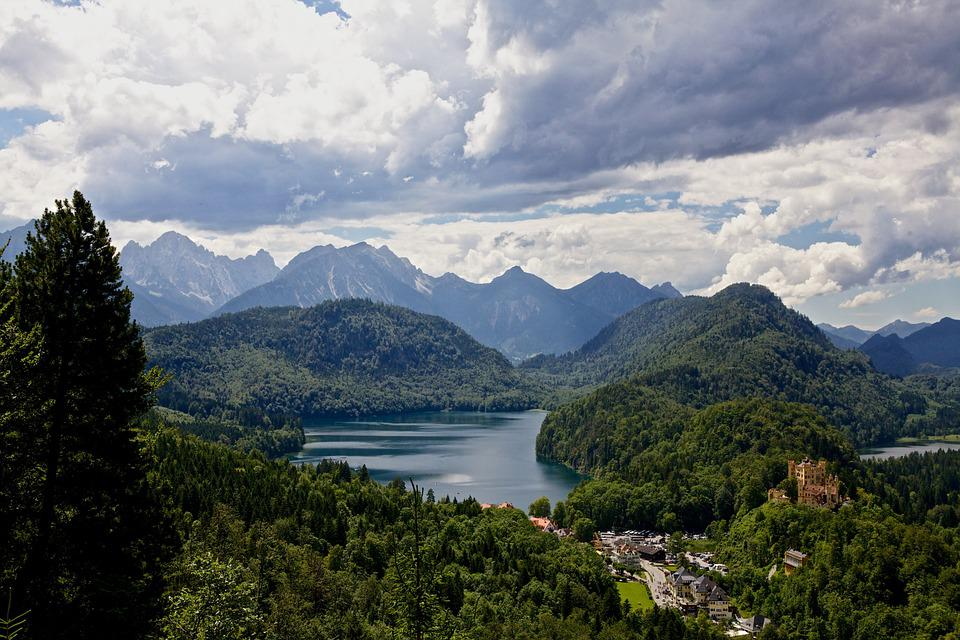 Alpsee, Lake, Mountains, Panorama, Sky, Clouds