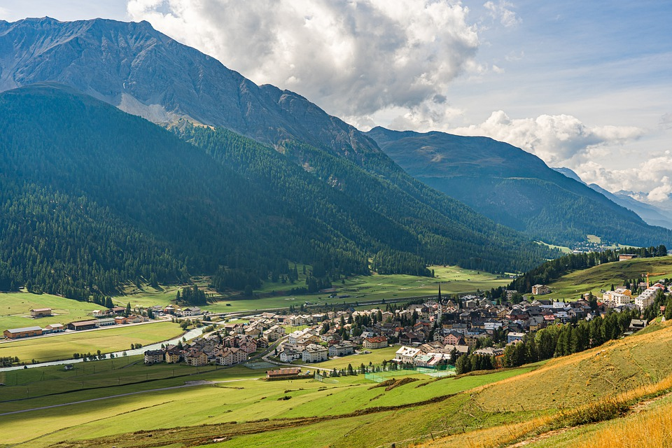 Mountains, Valley, Village, Panorama, Landscape