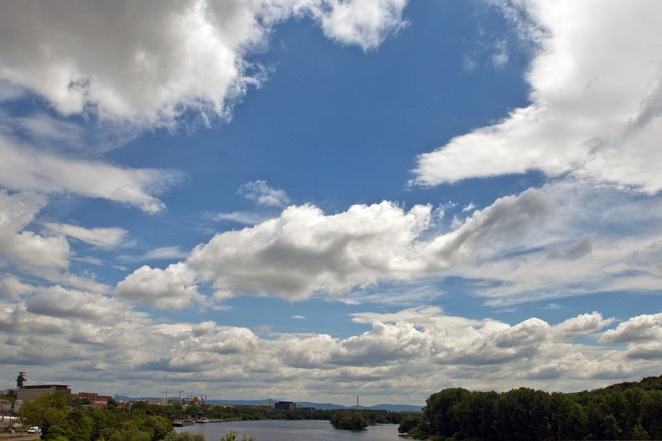 Clouds, River, Panorama, Landscape