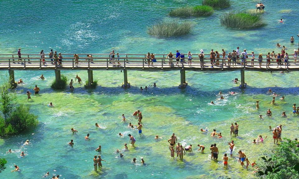 Bridge, Wooden, People, River, Panorama, Landscape