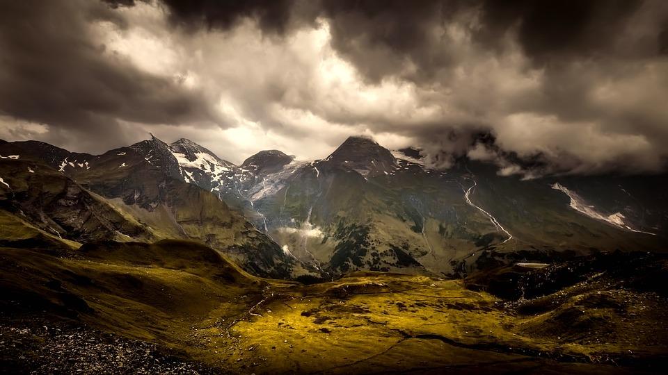 Austria, Sunset, Dusk, Sky, Clouds, Panorama, Valley
