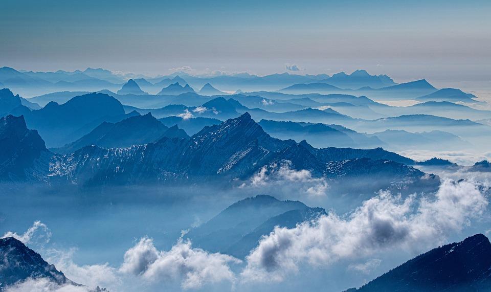 Mountains, Snow, Fog, Summit, Rocks, Nature, Panorama