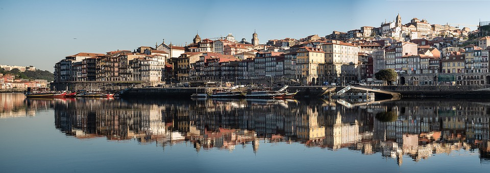 Portugal, Porto, Panorama, Skyline, Promenade, Sunrise
