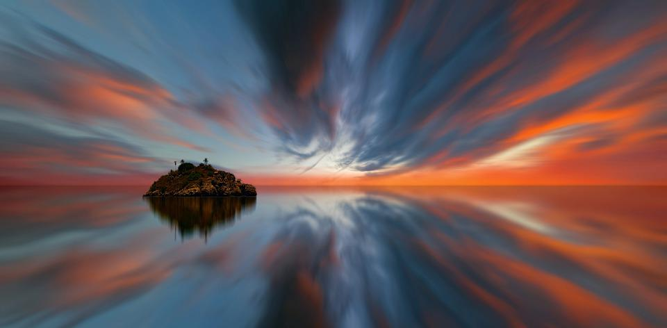 Sunset, Island, Sky, Waters, Panorama, Evening, Dusk