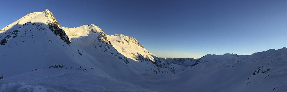 Snow, Winter, Sunset, Panorama, Mountains, Alpine