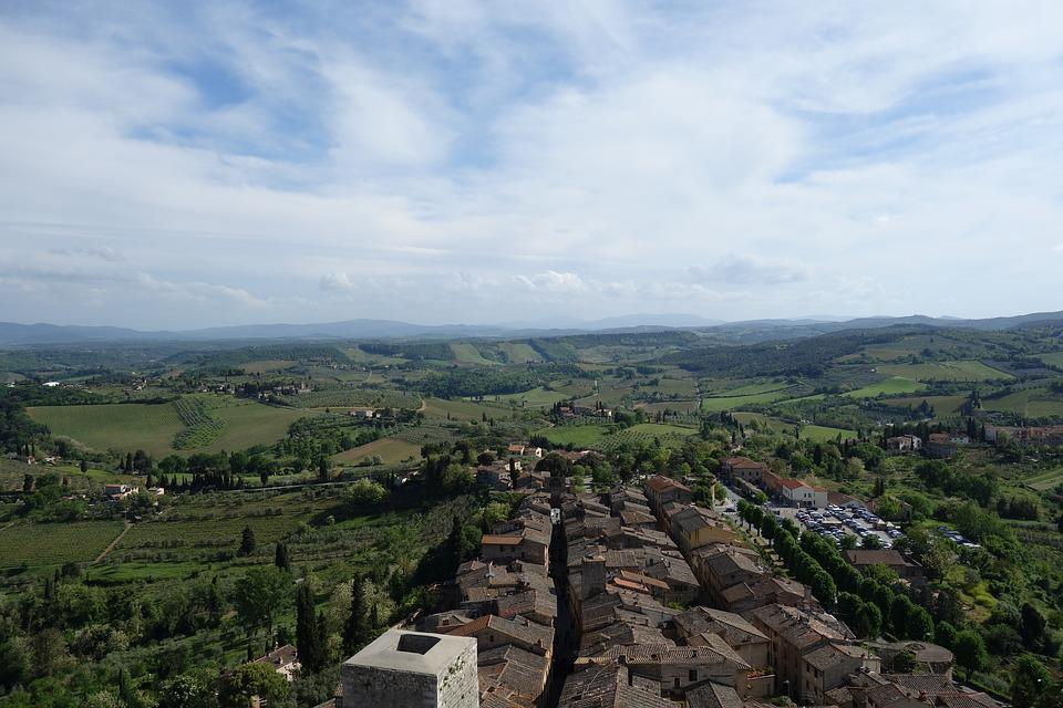 San Gimignano, Tuscany, Countryside, Italy, Panorama