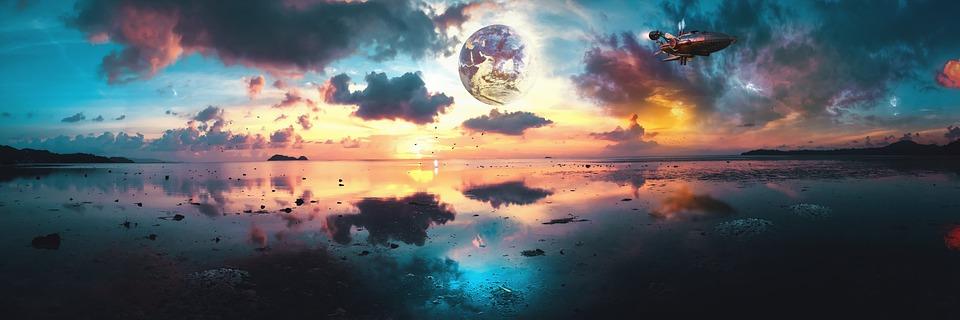 Surreal, Fantasy, Panoramic, Landscape, Sunset