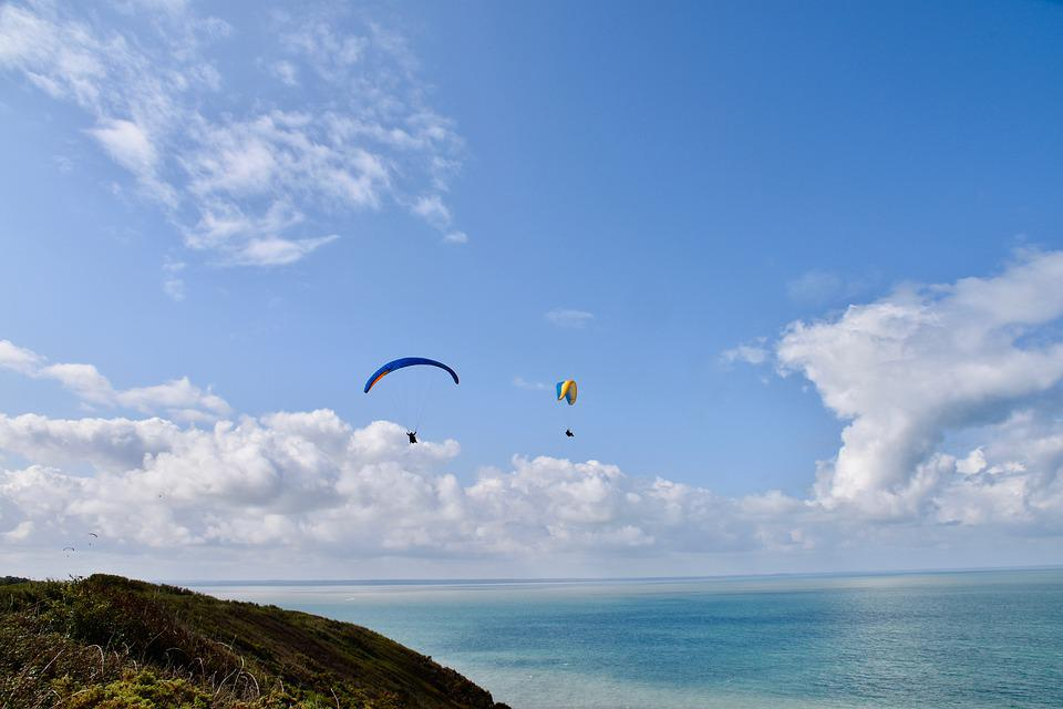 Panoramic Views, Paragliders, Flying Above The Sea