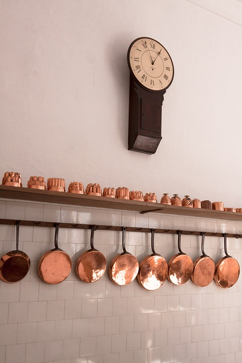 Baking Moulds, Pans, Copper, Old, Antique, Kitchen