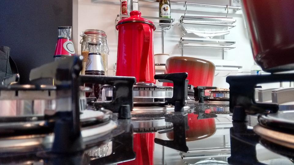 Kitchen, Red, Stove, Pans
