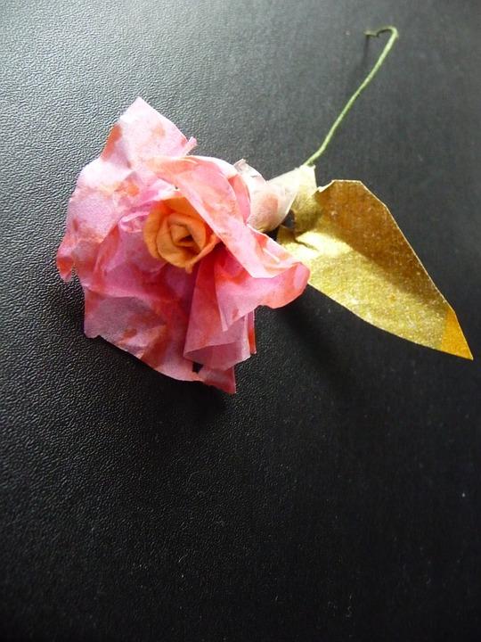 Pink, Paper Flower, Black, Handmade, Paper, Art