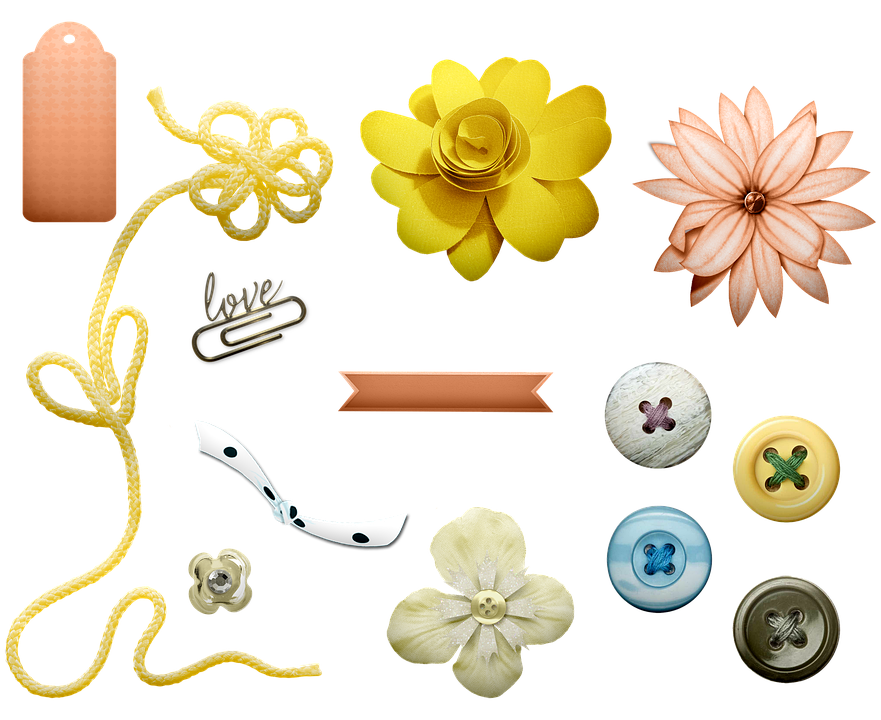 Fabric Flowers, Buttons, Scrapbooking, Tags, Paper Clip