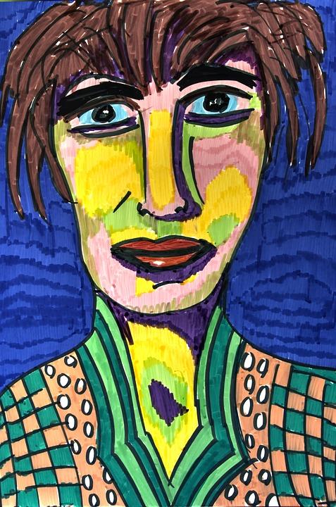 Abstract Portrait, Colourful, Paper, Felt Pens