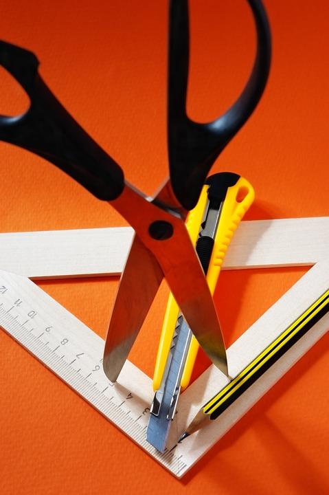 Ruler, Glue, Cutter, Scissors, Cardboard, Paper