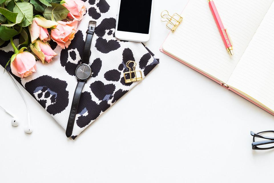 Flatlay, Roses, Pink, Desktop, Business, Paper, Office
