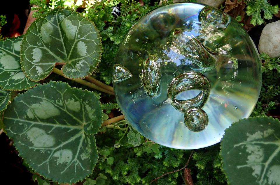 Glass Bubble, Paper Weight, Leaves, Transparent, Garden