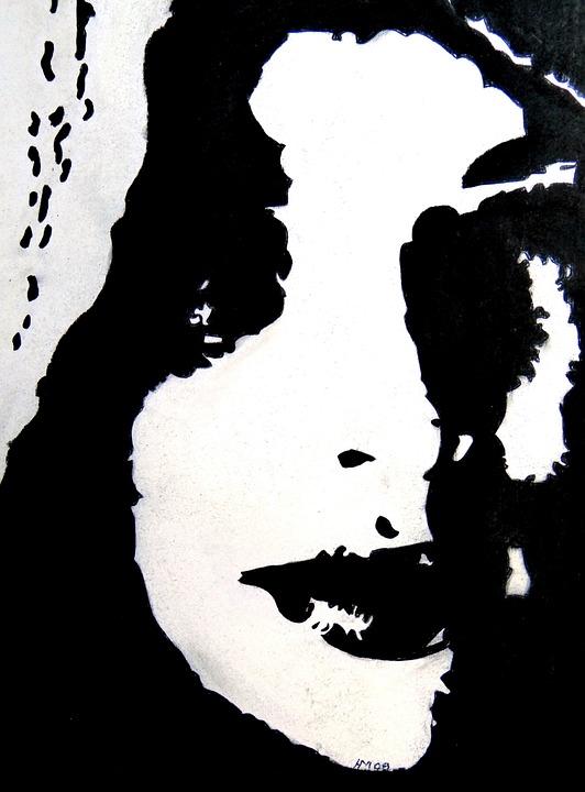 Art, Painting, Chalk, Paper, Woman, Black