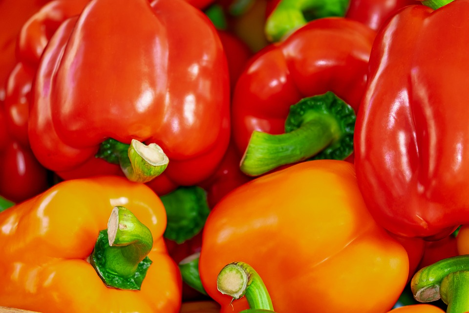 Sweet Peppers, Paprika, Red, Healthy, Rich In Vitamins