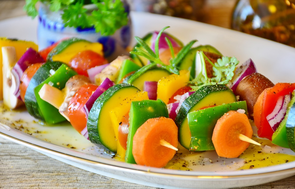 Vegetable Skewer, Paprika, Tomato, Mushrooms, Onion