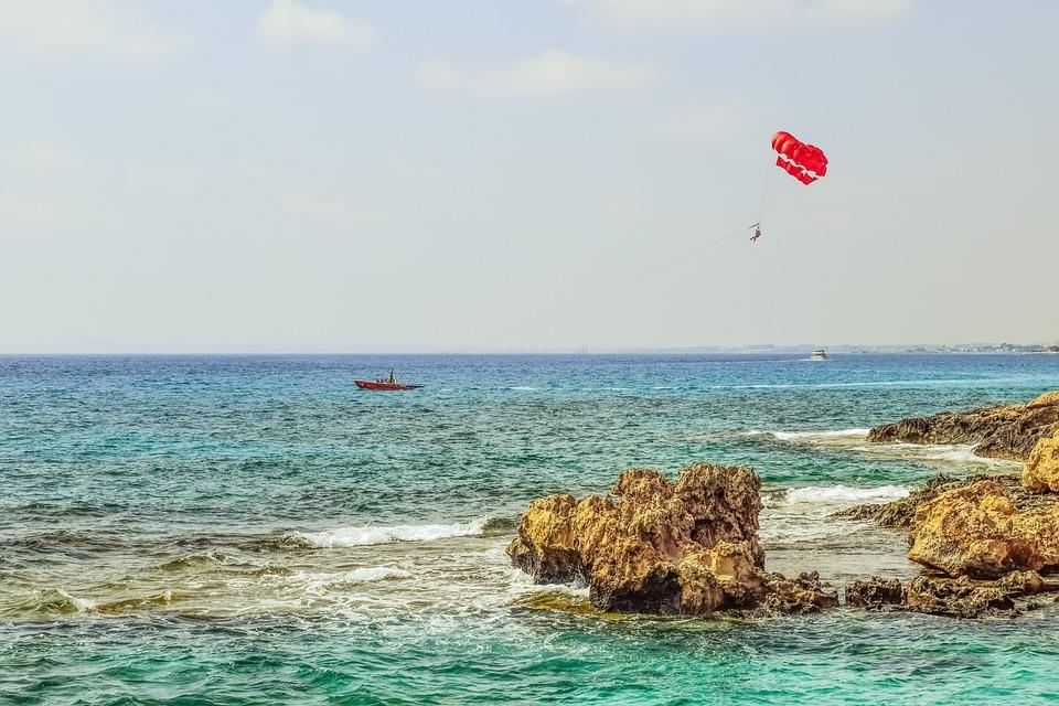 Rocky Coast, Sea, Landscape, Parachute, Paragliding