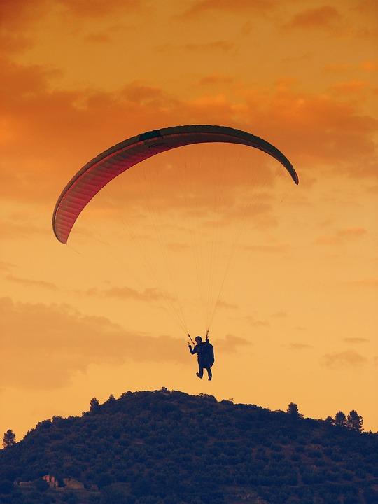 Paragliding, Wind, Air, Horizon, Parachute, Sky