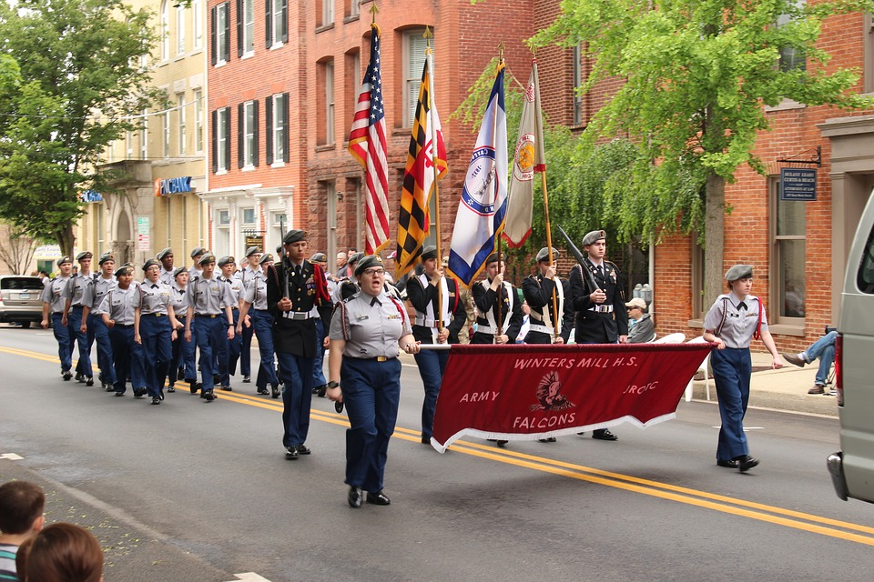 Marching, Parade, Memorial Day, Flag, Honor