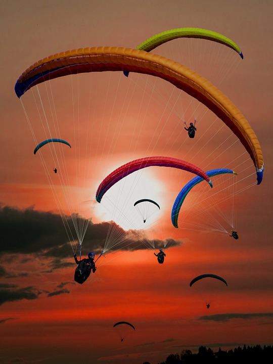 Paraglider, Paragliding, Fly, Sun, Sunset
