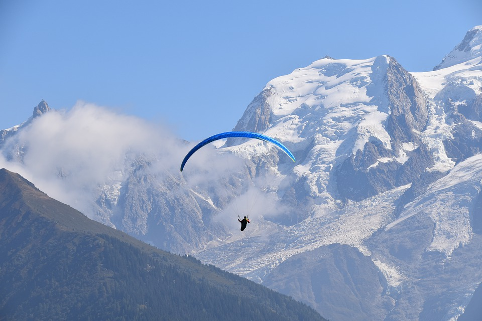 Paragliding, Paraglider, Mountain Mont-blanc