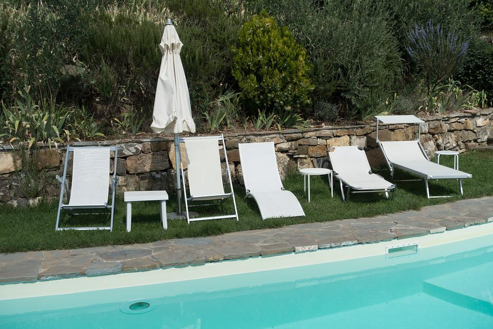 Deck Chair, Swimming Pool, Parasol, Garden, Recovery