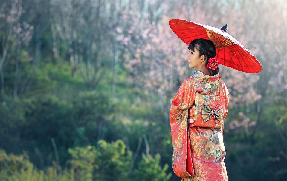 Kimono, Woman, Umbrella, Parasol, Japanese Woman