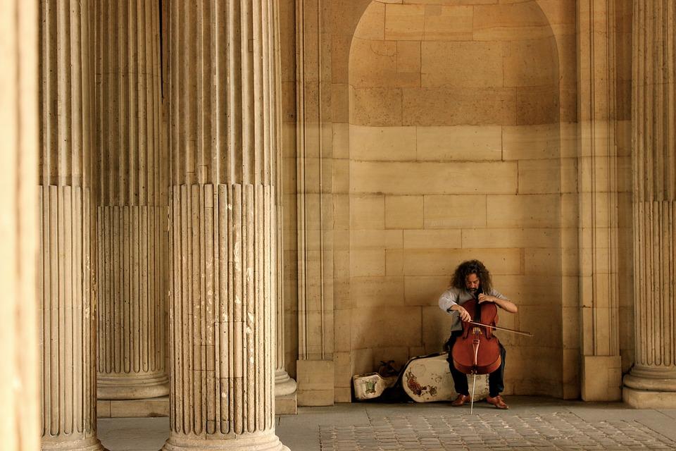 Paris, Street Artist, Cello, Music, Classic