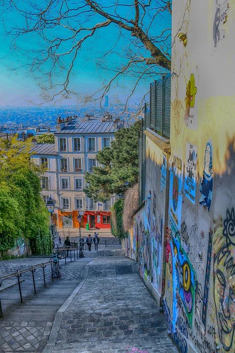 Paris, Montmartre, Stairs, City, Colors, Modern, Urban