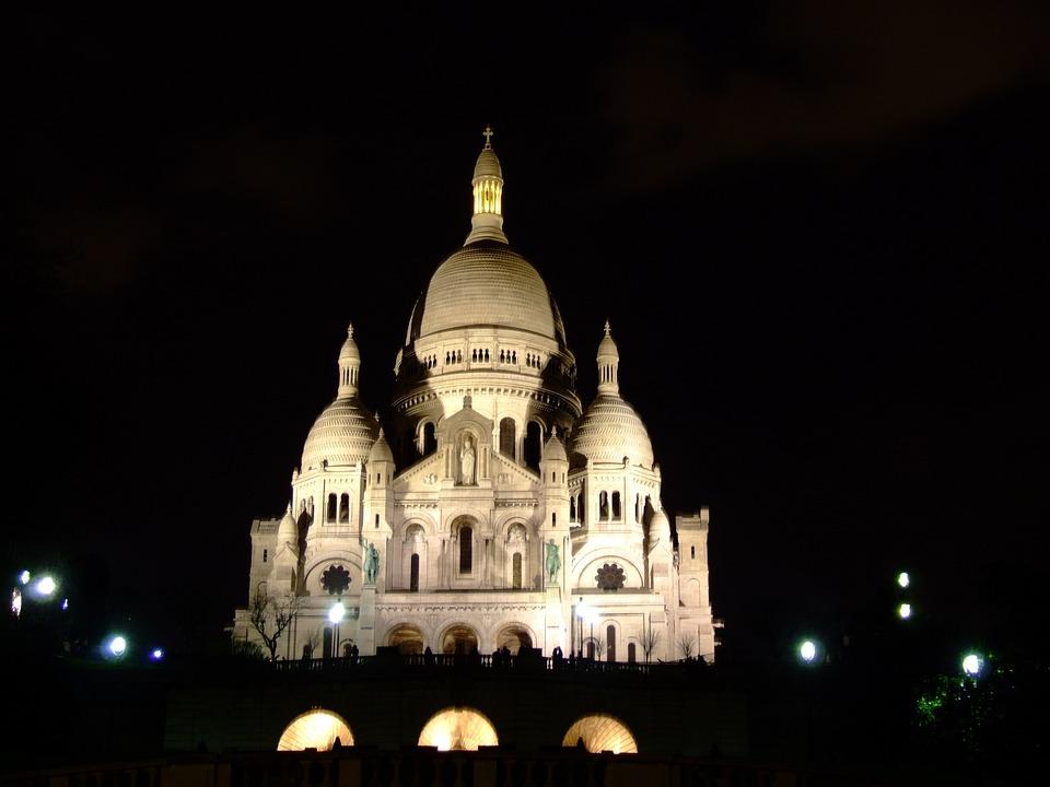 Free Photo Paris Evening France Night Basilique Du Sacre