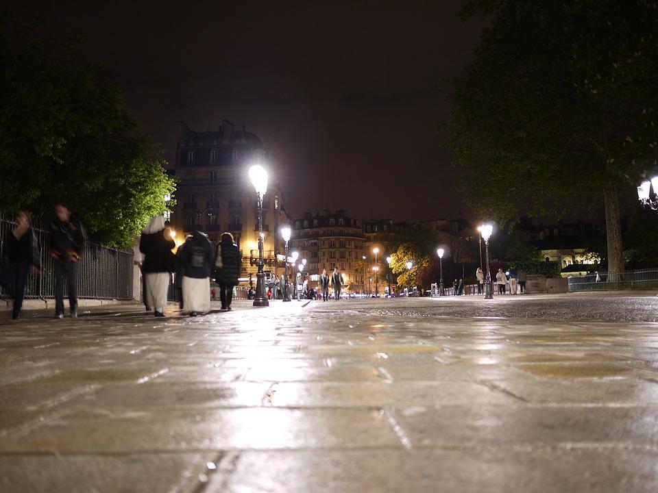 Paris, Night, Lights, Pavement, Inner City, France
