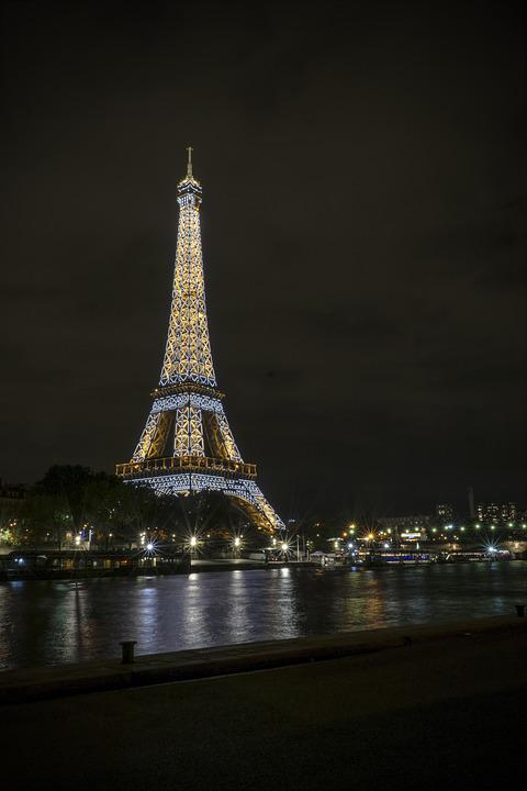 France, Paris, Eiffel Tower, City, Seine, Night