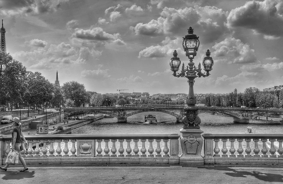 Bridge, Black And White, Lantern, Paris, France