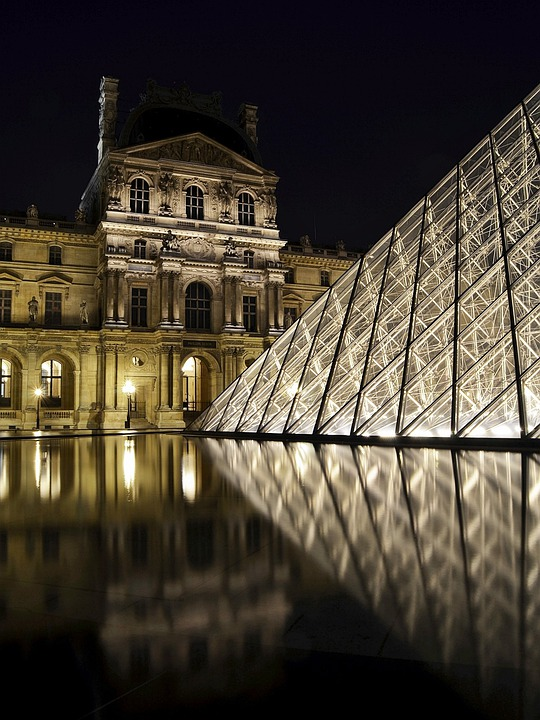 Louvre, Paris, Pyramid, Architecture, Night Shot