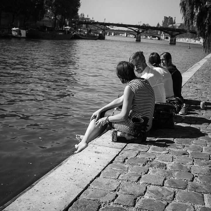 Seine, Paris, Youth, Perspective, People, Relax