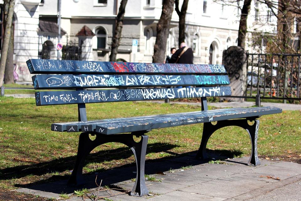 Park Bench, Park Bench In Munich, Graffiti, Bank, Road
