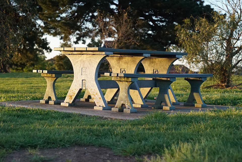 Free Photo Park Carved Picnic Tables Relaxation Comfort Stone Max - Stone picnic table