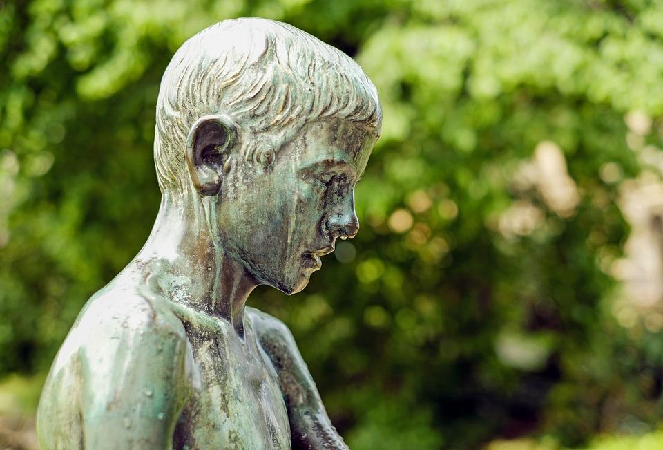Sculpture, Bronze, Child, Boy, Mourning, Park, Freiburg