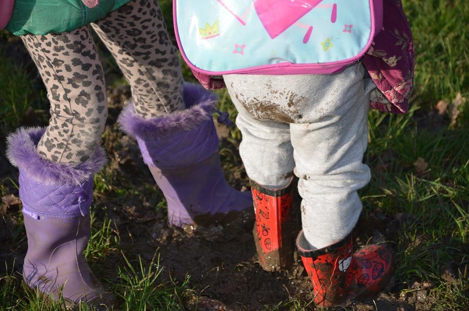 Mud, Children, Wellies, Park, Activity, Child