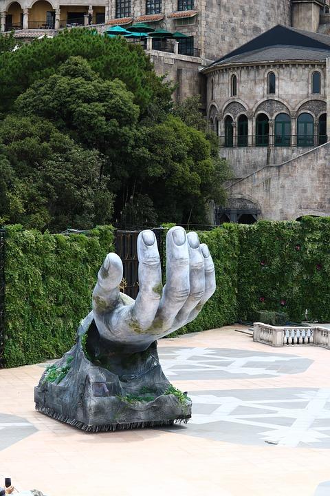 Hand, Sculpture, Installation Art, Courtyard, Park