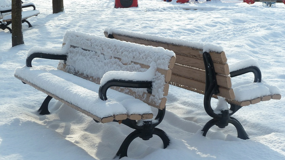 Park, Benches, Snow Covered, Outside, Winter, Empty