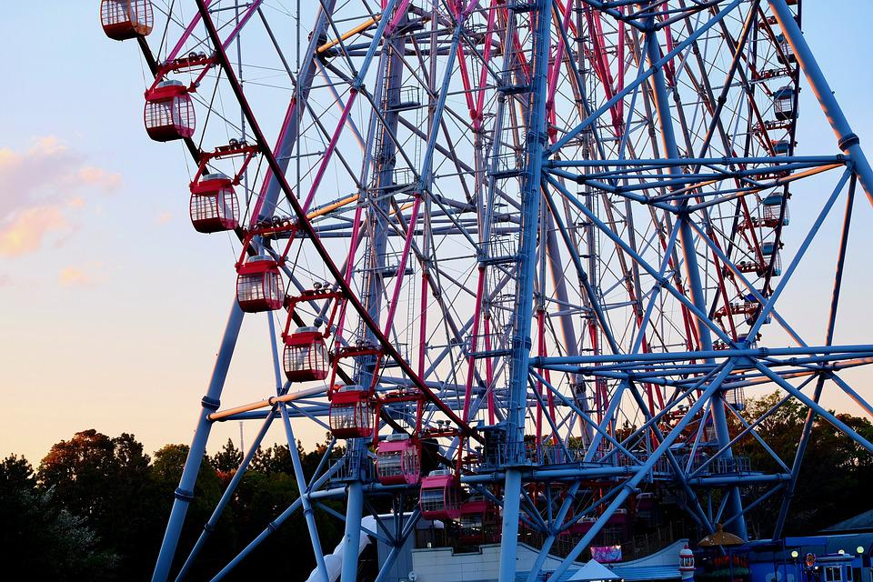 Ferris Wheel, Park, Sunset, Twilight, Silent