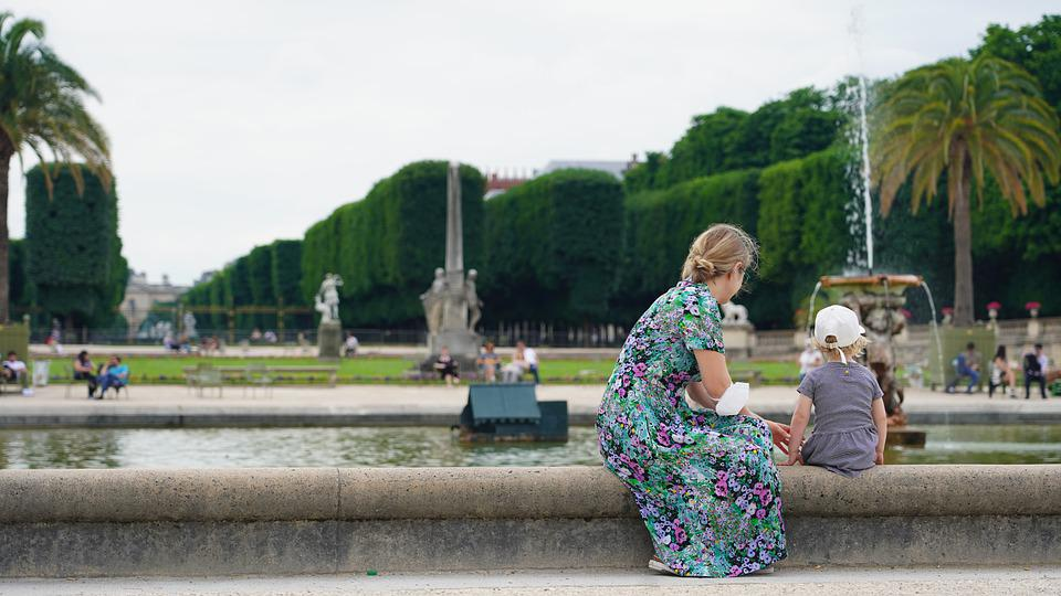 Park, Fountain, Mother, Child, Tree, France, Paris