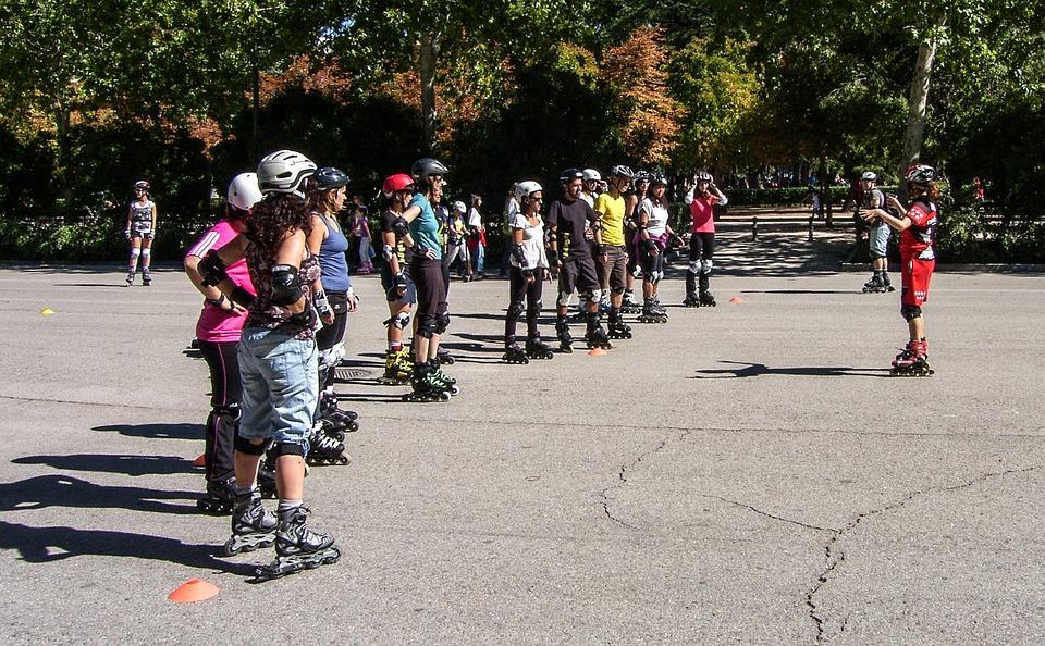 Park, Skateboard, Skates, Group, Class, Professor