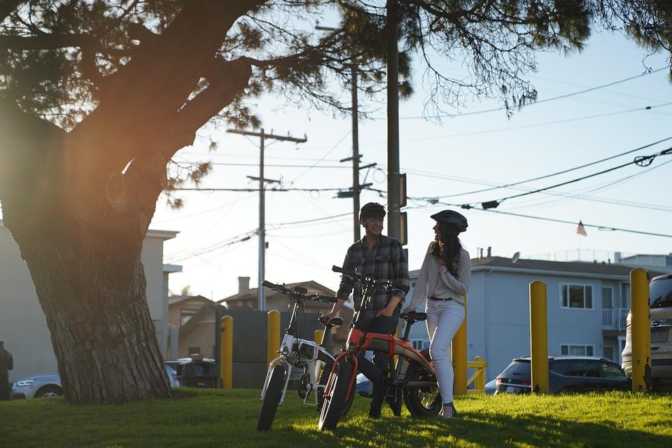 Couple, Girl, Boy, Man, Lady, Park, Electric Bikes