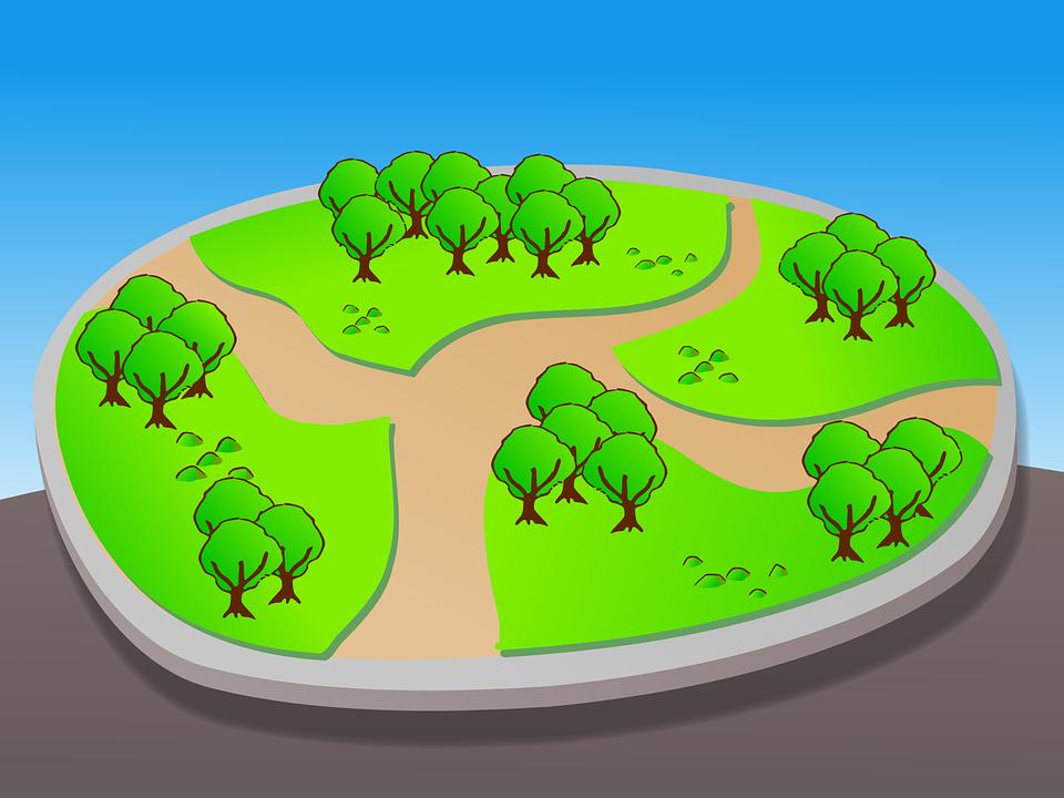 Park, Map, Guidemap, Layout, Trees, Lawn, Grass, Urban