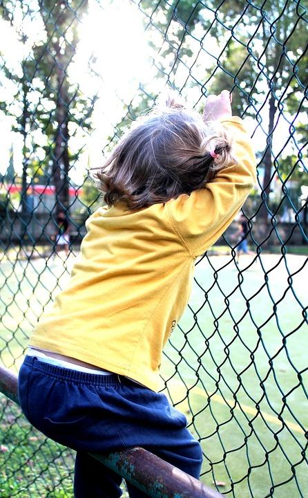 Little Girl, Railing, Park, Spring, Nature, Green